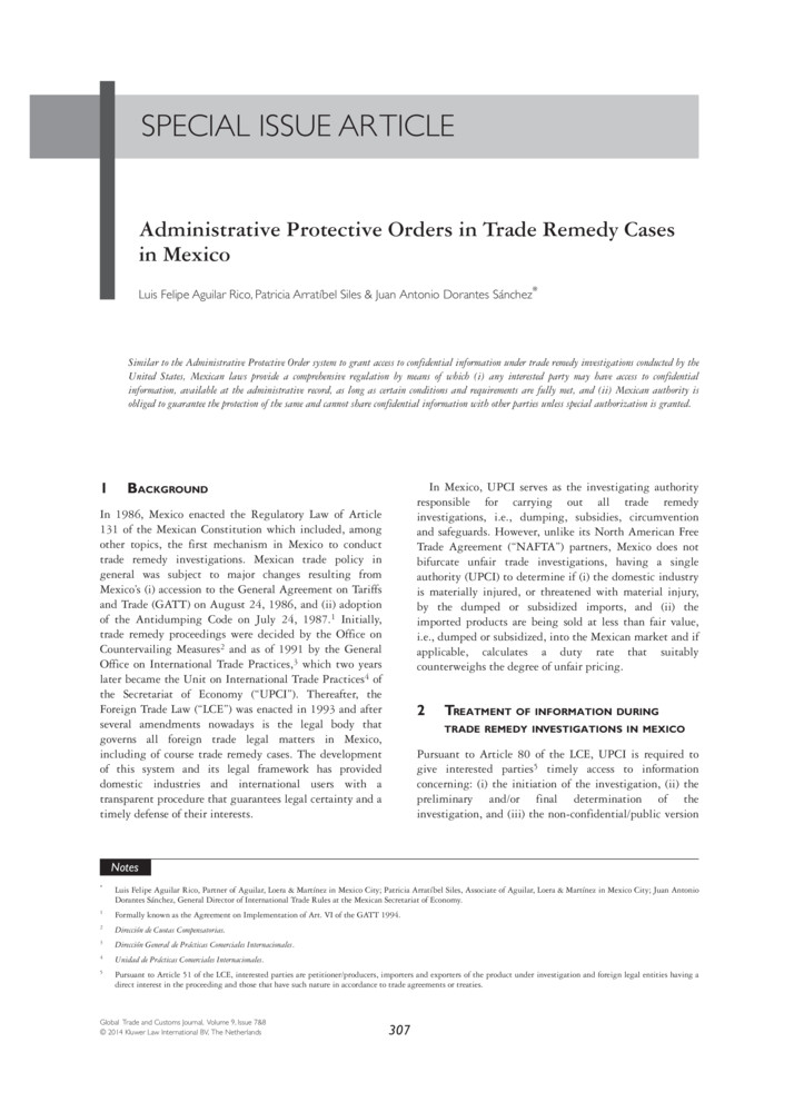 Administrative Protective Orders in Trade Remedy Cases in Mexico