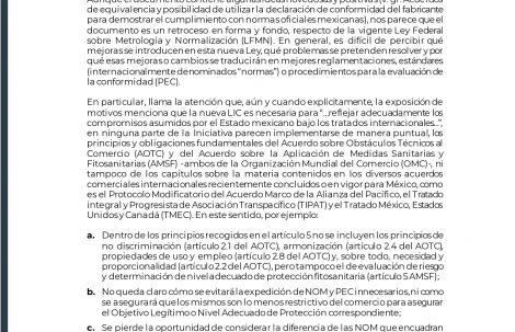 Comentarios al proyecto de decreto por el que se expide la Ley de Infraestructura de la Calidad