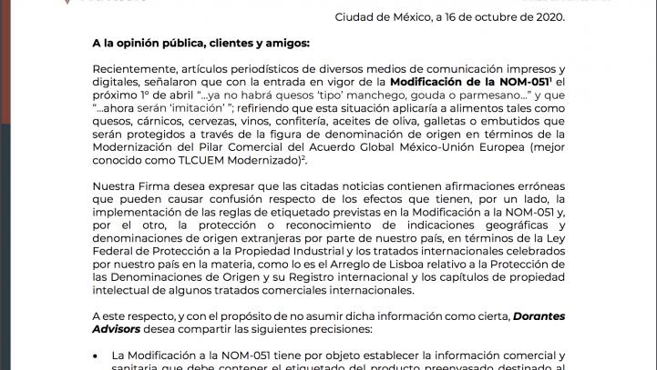 Comunicado de prensa en relación con la entrada en vigor de la NOM-51 y las indicaciones geográficas reconocidas en el marco de TLCUEM.