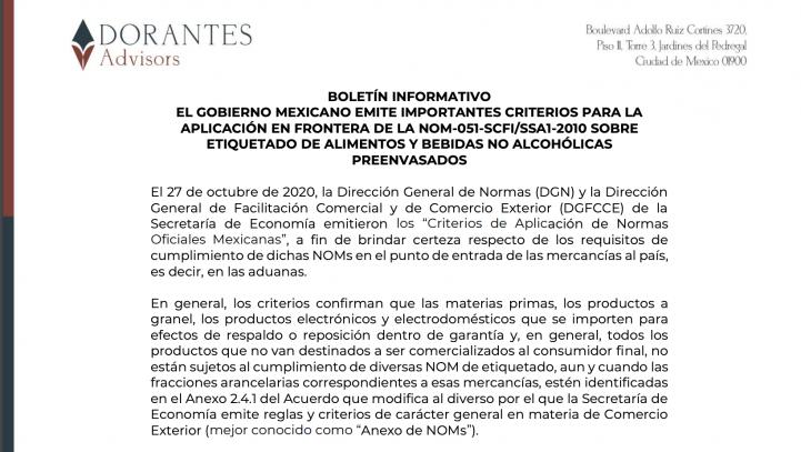 BOLETÍN INFORMATIVO EL GOBIERNO MEXICANO EMITE IMPORTANTES CRITERIOS PARA LA APLICACIÓN EN FRONTERA DE LA NOM-051-SCFI/SSA1-2010 SOBRE ETIQUETADO DE ALIMENTOS Y BEBIDAS NO ALCOHÓLICAS PREENVASADOS