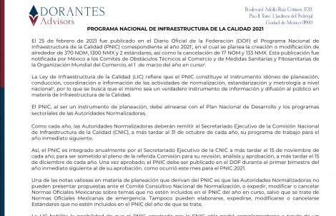PROGRAMA NACIONAL DE INFRAESTRUCTURA DE LA CALIDAD 2021